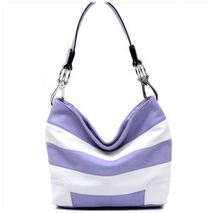 Handbags - Lavender & White Striped Classic Bucket Bag